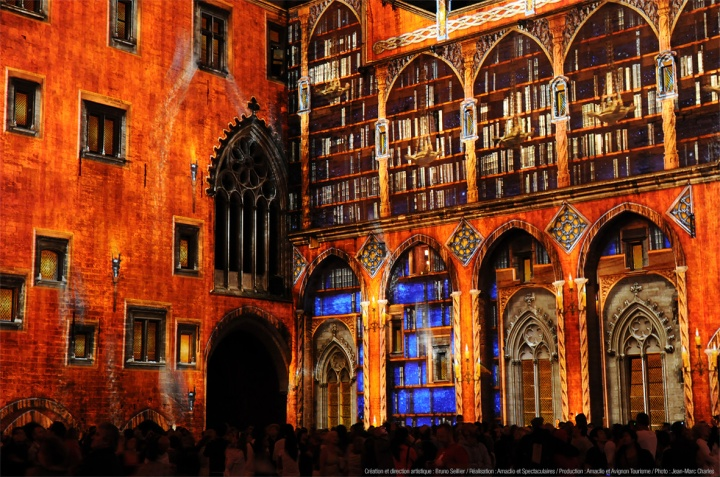 """Les Luminessences d'Avignon"", sound and light show inside the Courtyard of the Palace of the Popes, Palais des Papes, created by Bruno Seillier, lighting-designer : Benoît Quero/Spectaculaires. Avignon, Vaucluse, Provence-Alpes-Côte d'Azur, France."